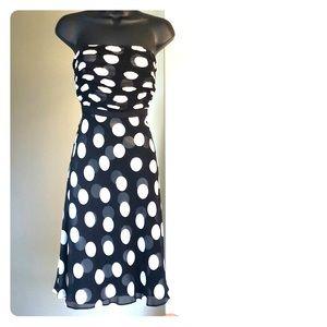 ANN TAYLOR sz 6p black and cream polka dot dress